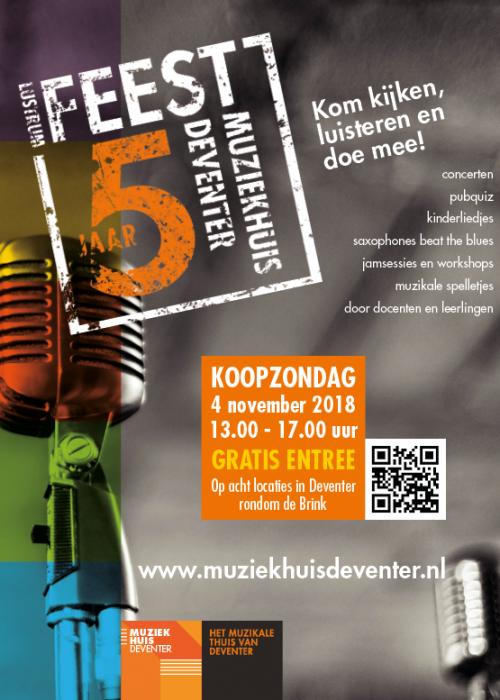 Affiche jubileum 5 jaar Muziekhuis Deventer